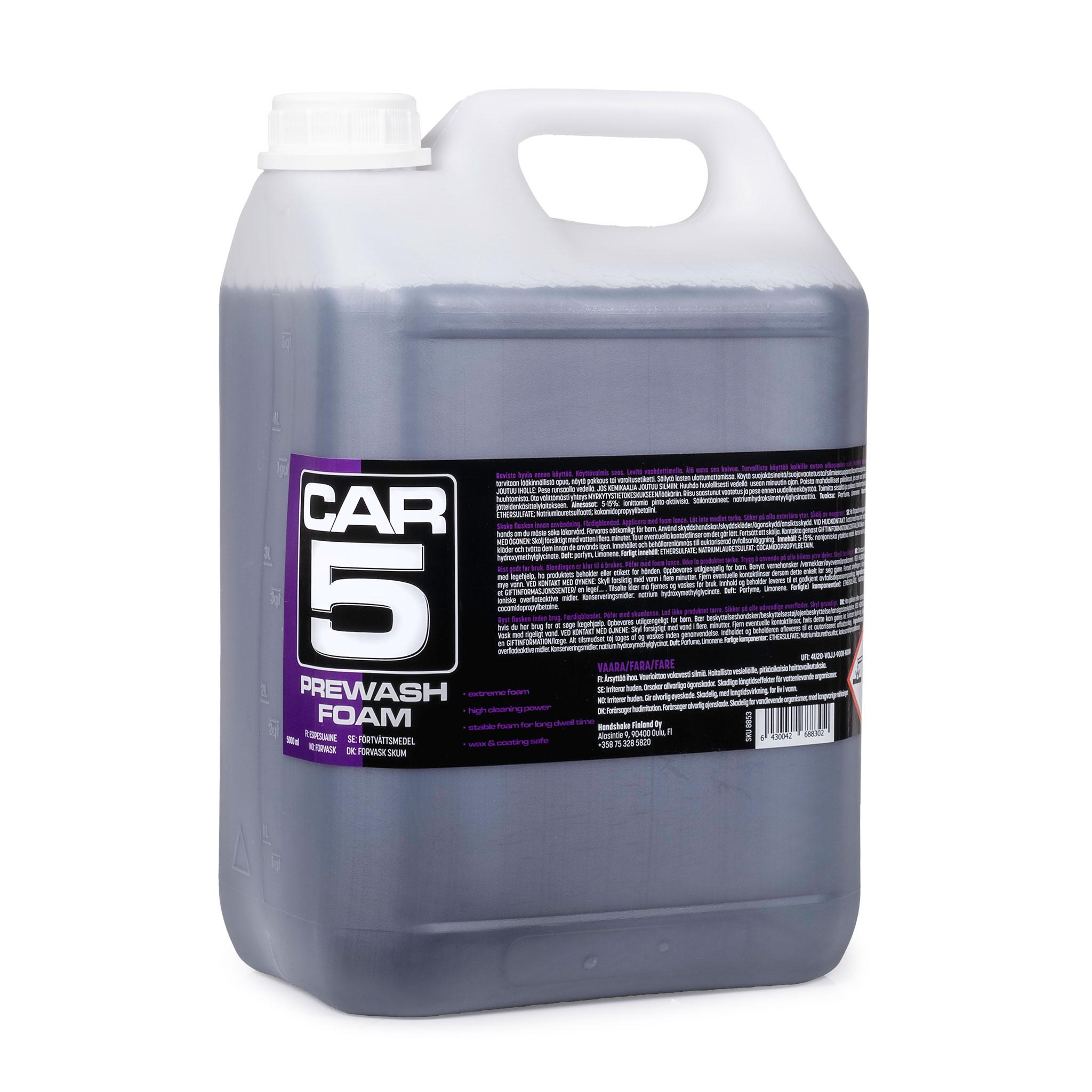 Förtvättsmedel CAR5 Prewash Foam, 5000 ml