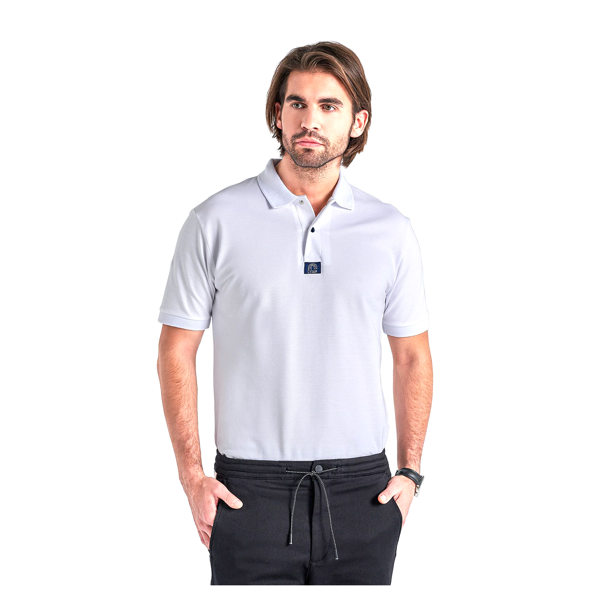 Kortärmad Piké Gyeon Polo T-Shirt, Vit, XL