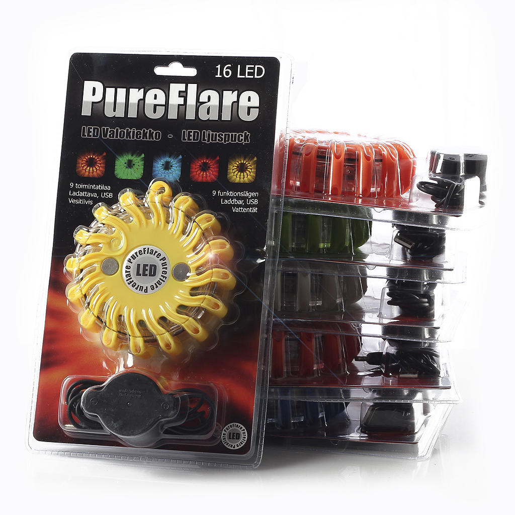 Laddbar LED ljuspuck Pureflare, 16 LED
