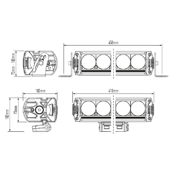 Lisävalo Lazer Triple-R 1000 Elite 3 Titanium - Suora 40 cm / 92W / Ref. 40