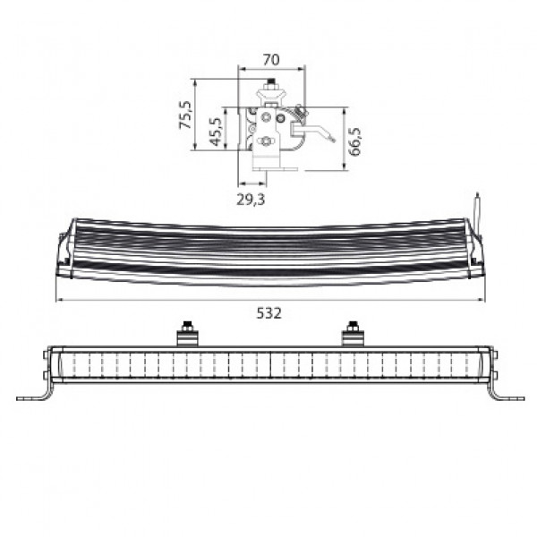 Lisävalo W-Light Wave - Kaareva / 53 cm / 105W / Ref. 45