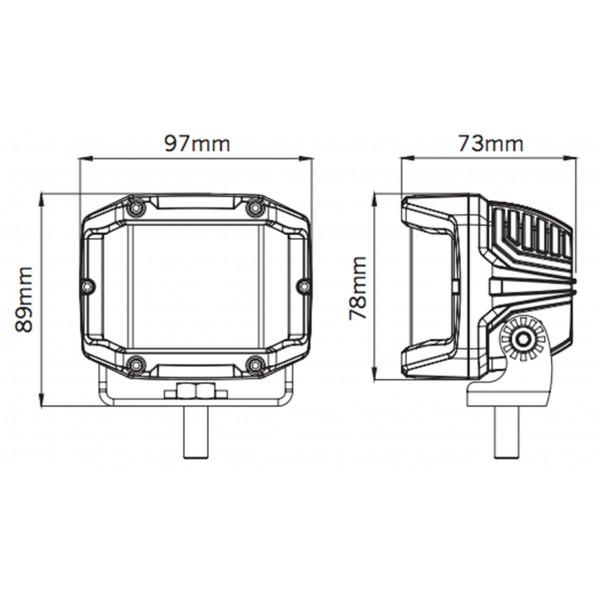 LED-Extraljus Strands Side Shooter - Fyrkantiga / 10 cm / 29W